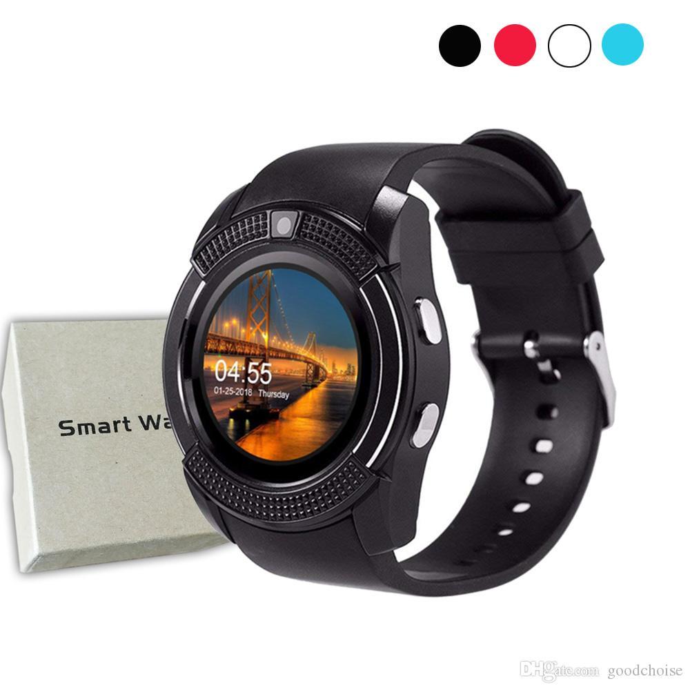 V8 Smart Watch Bluetooth Touch Screen Android Sport Men Women Smart watch with Camera SIM Card Slot PK DZ09 GT08 A1