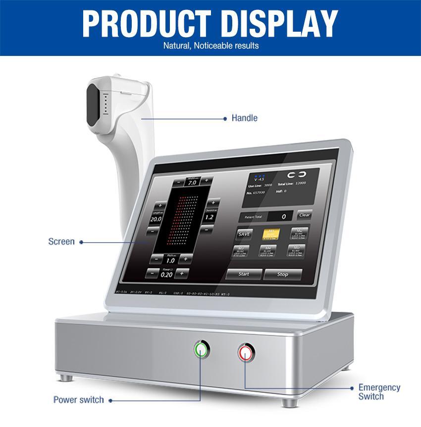 Piel 3D HIFU apriete cara de la máquina Cuidado de la piel contra el envejecimiento portátil 3D de la máquina HIFU HIFU 8 cartuchos Salon uso en el hogar