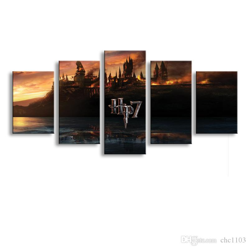 HD Printed 5 piece canvas Harry Potter School Castle Hogwarts Painting room decor posters and prints art Free shipping HL-002