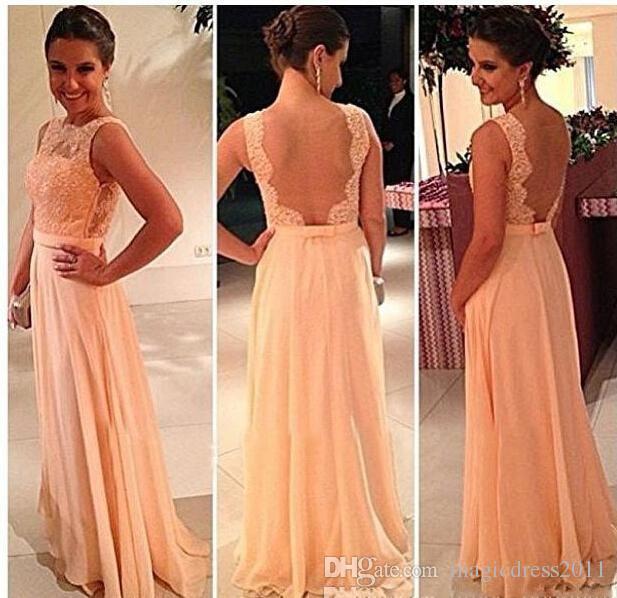Compre 2019 Barato Espalda Abierta Imprimir Gasa De Encaje Largo Color Melocotón Vestido De Dama De Honor Vestido De Fiesta Vestidos De Fiesta