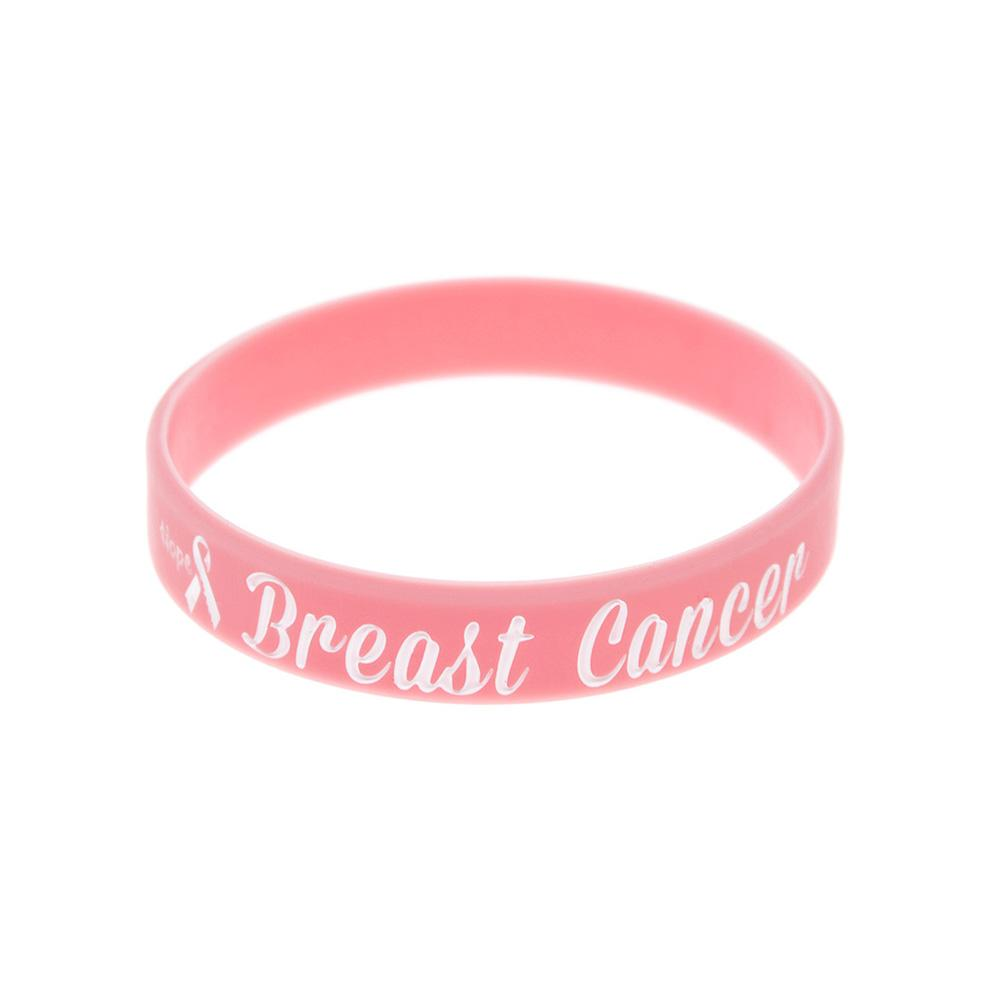 100PCS Ink Filled Logo Hope Ribbon Breast Cancer Awareness Silicone Rubber Bracelet Pink Adult Size