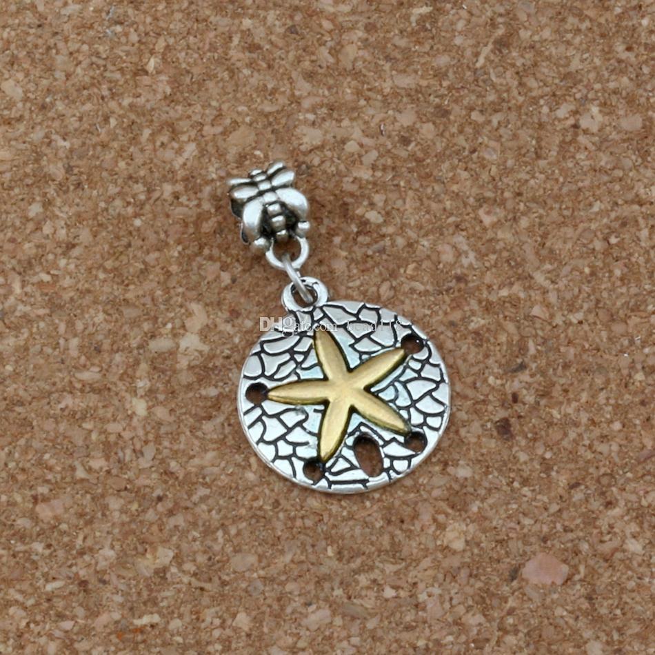50 шт./лот мотаться прекрасный Морская звезда сплава очарование большое отверстие бусины подходят Европейский браслет ювелирных изделий 19.8x34.5mm A-288a