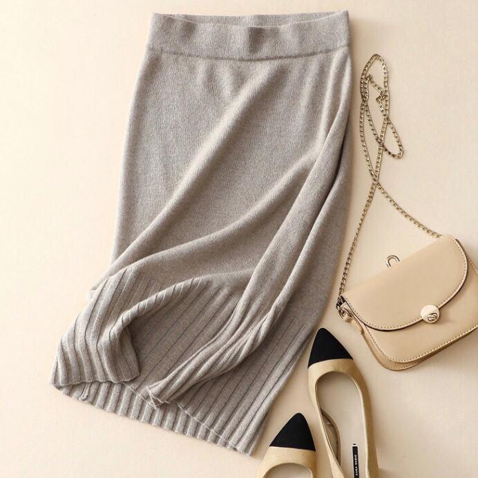 النساء تنورة 100٪ البحتة الكشمير عادية لينة شتاء دافئ الملابس