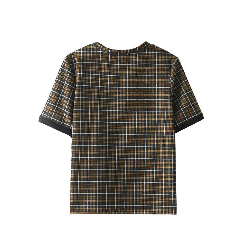 New 2018 Women Contrast Houndstooth Check Plaid Short Sleeve Blouse Shirt Round Collar Ladies Top Blusas Mujer Camisas Femme
