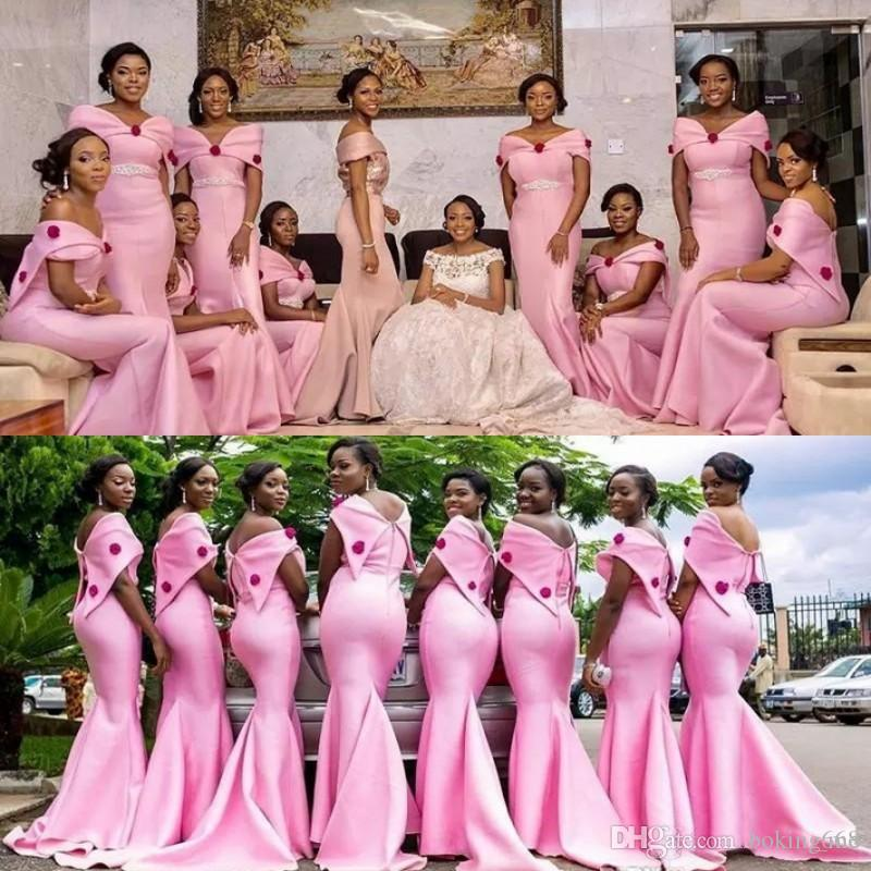 2020 Африканских розовый невесты платье Потрясающие Цветочные бусины Кристалл Rhinestone Длинные Русалка плеча Mermaid Wedding Party Guest Gowns