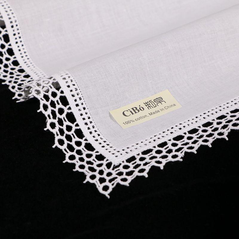 D609: Белый премиум хлопок кружева платки 12 шт/УП пустым крючком Платки для женщин/Леди свадебный подарок