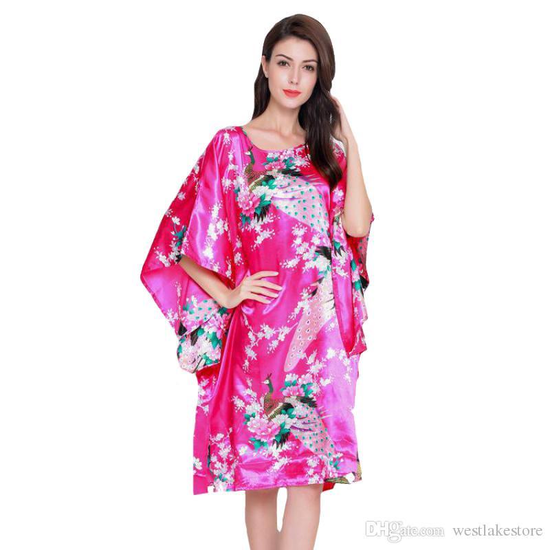 여름 Sliky 새틴 잠옷 핫 핑크 여성 Sleepwear FloralPeock 섹시한 Nightwear Nightdress O-Neck Robe 홈 드레스 가운