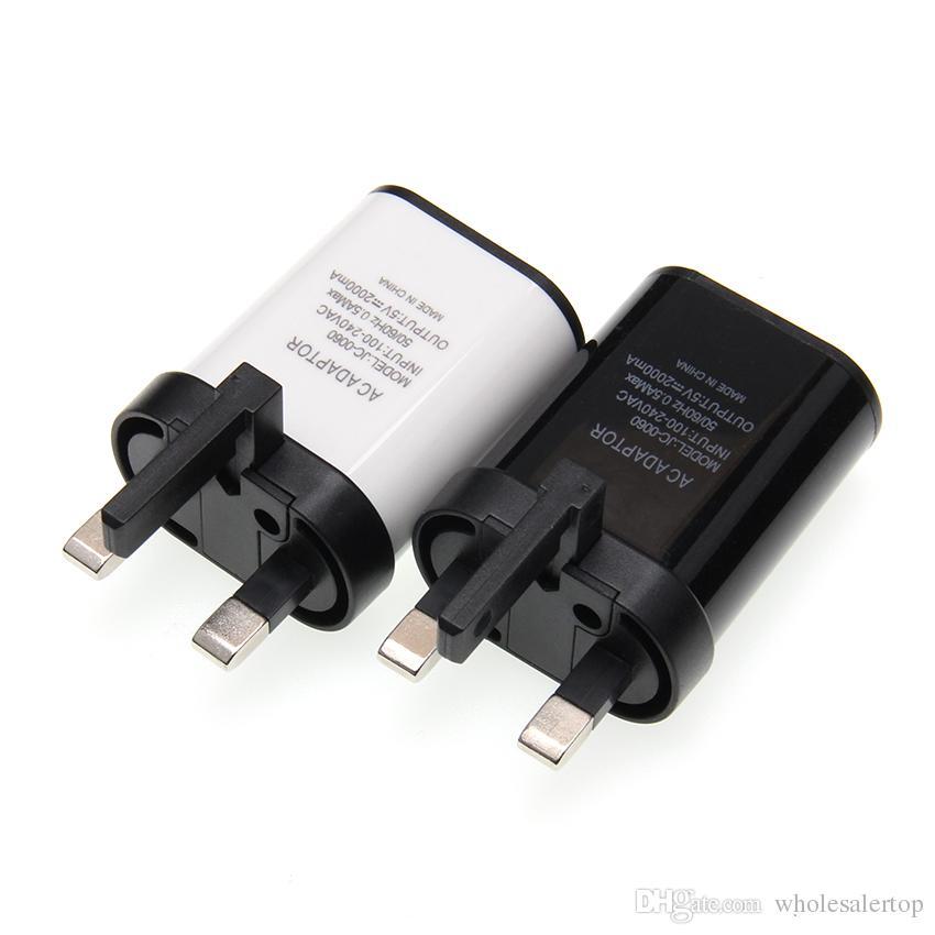 Высочайшее качество Оригинал 5V 2a Три-контактный UK USB быстрое зарядное устройство Мобильный телефон Настенный адаптер питания для iPhone 6 7 Plus Samsung