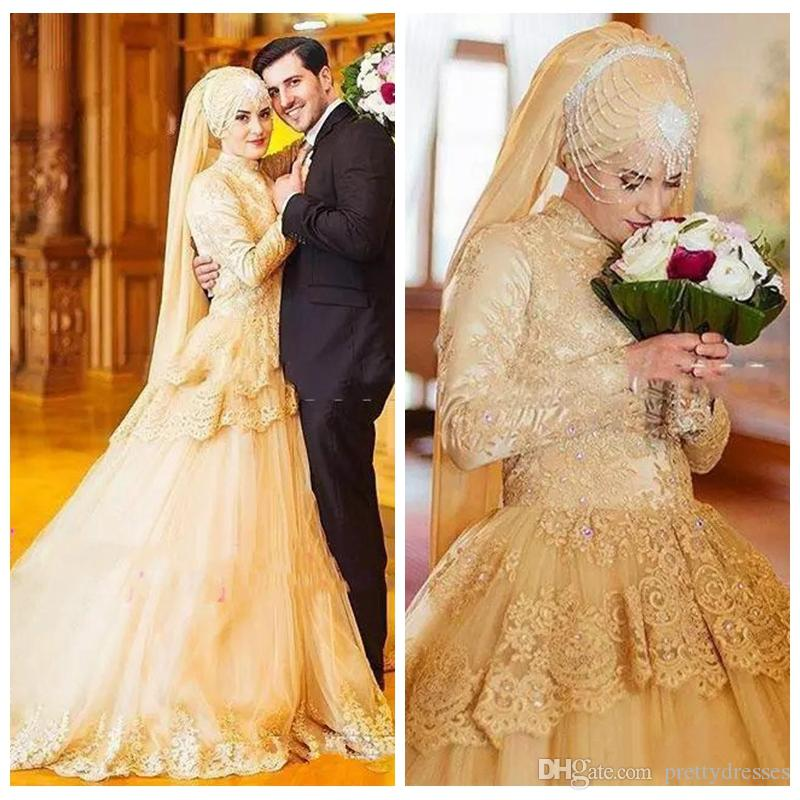 High Neck Muslim Formal Gold Lace Wedding Dresses Long Sleeves 3D Floral Beaded Dubai Arabic Women Bridal Gowns Custom 2019 Vestidos