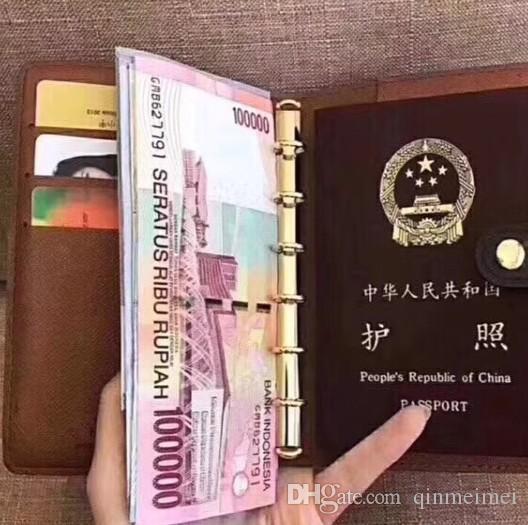 ID do cartão de identificação Reunião recorde livro melhor presente com caixa marca marrom flor genuíno couro venda passaporte case cadernos curtos carteira