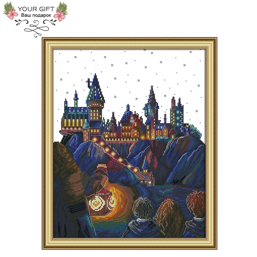wholesale F973 14CT 11CT Counted and Stamped Home Decor Magic Castle Needlework Needlepoint Embroidery DIY Cross Stitch kits
