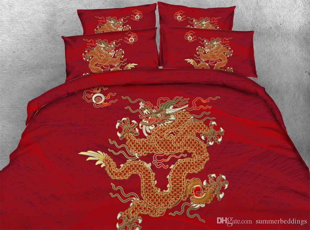 Christmas Bedding Sets Queen.3d Chinatown Dragon Bedding Sets Queen Christmas Duvet Cover Single Twin King Cal King Size Bedspreads Traditional Chinese Style Bedlinens Modern
