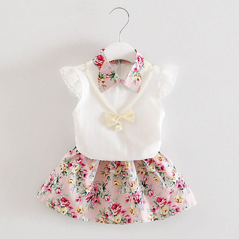 Children Flowers outfits girls top+Floral skirts 2pcs/set 2018 summer Baby suit Boutique kids Clothing Sets 2 colors C3837