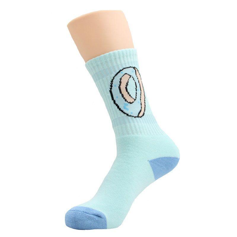 Donas calcetines Algodón Baloncesto Deporte Calcetines Donas imprimir Medias 2018 nuevas mujeres Hombres niños grandes calcetines 6 colores C449