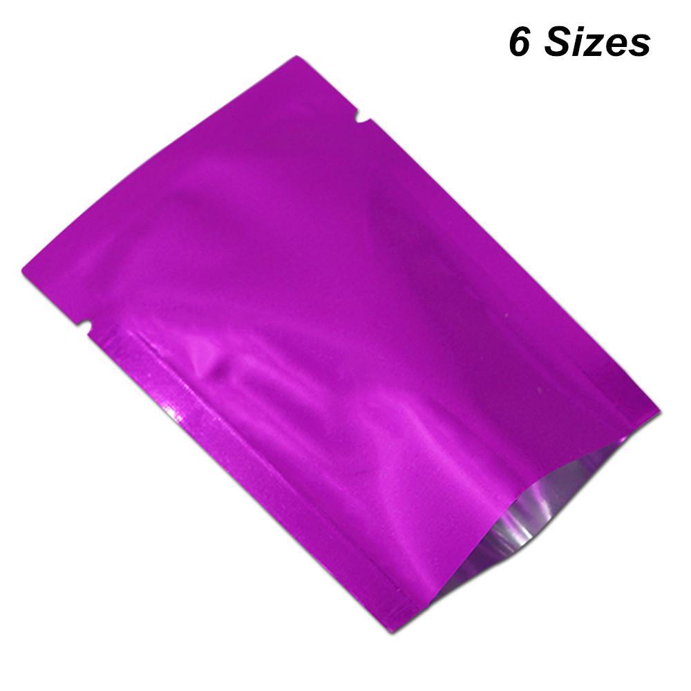 6 Размеры Доступны Фиолетовый 100 Шт. Алюминиевая Фольга Вакуумная Термосвариваемая Упаковка Мешки Для Чая Кофе Орехи С Открытым Верхом Майлар Упаковка Сумка Для Хранения