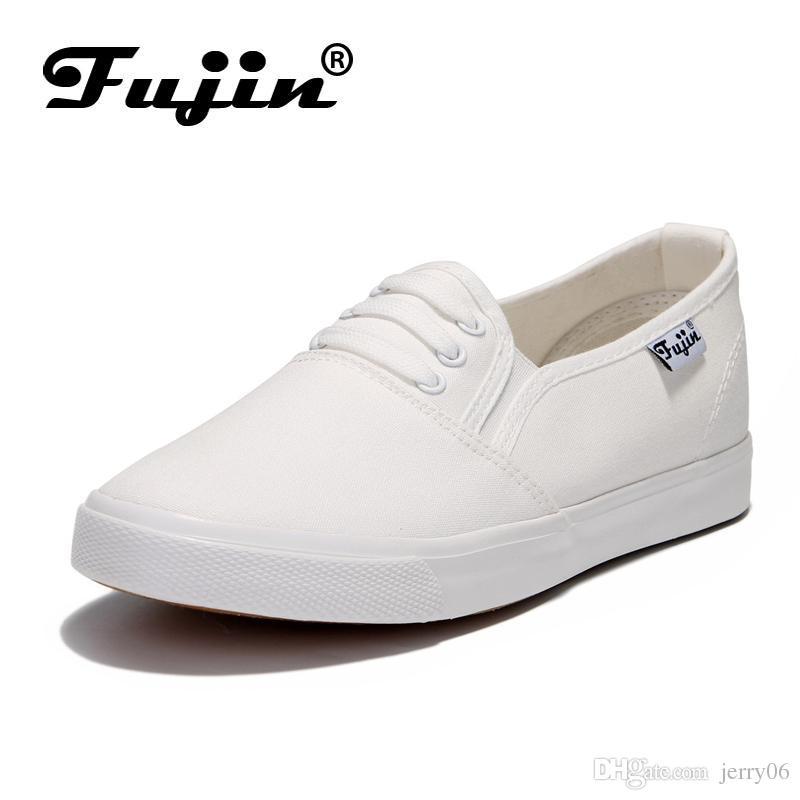 Fujin large Size 36-41 autunno autunno 2018 Donna Fashion Slip On Scarpa casual da donna piatta scarpa casual in tela per espadrillas