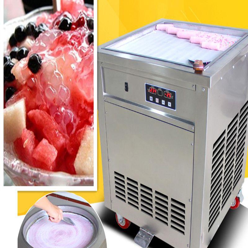 Fried machine à rouleaux de crème glacée à la crème Cabotage sans pot de fruits couvercle de glace rouleau grand pot carré, zone de sauvegarde. Réfrigérant