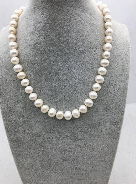 19 Zoll Perlenschmuck, 9-10mm Kartoffel Runde weiße Farbe natürliche Süßwasser Perlenkette, perfekte Hochzeit Frauen Geschenk Schmuck