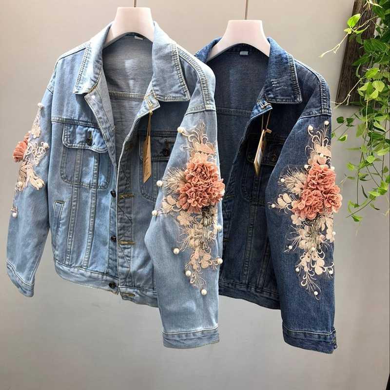2018 Novo outono 3D Flor Jaqueta Jeans Mulheres Moda Bordado Cowboy Jean Casacos Feminino Denim Curto Casaco Meninas Outwear