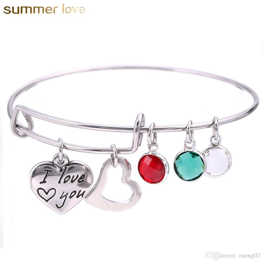 Crystal Charm Heart I Love You Mom Bangles High Quality Stainless Steel Expandable Wire Bracelets Bangle Adjustable Mothers Gift Day