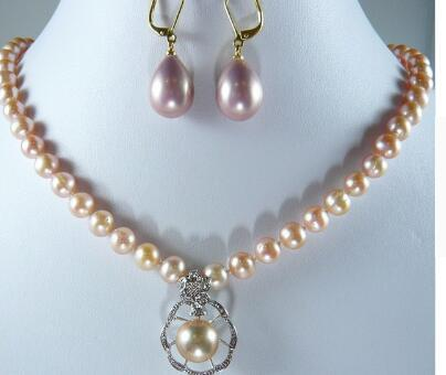 """Free Shipping wholesale noblest 8mm 17"""" pink shell pearl necklace + nice design 12mm pendant necklace & earrings set #s001"""
