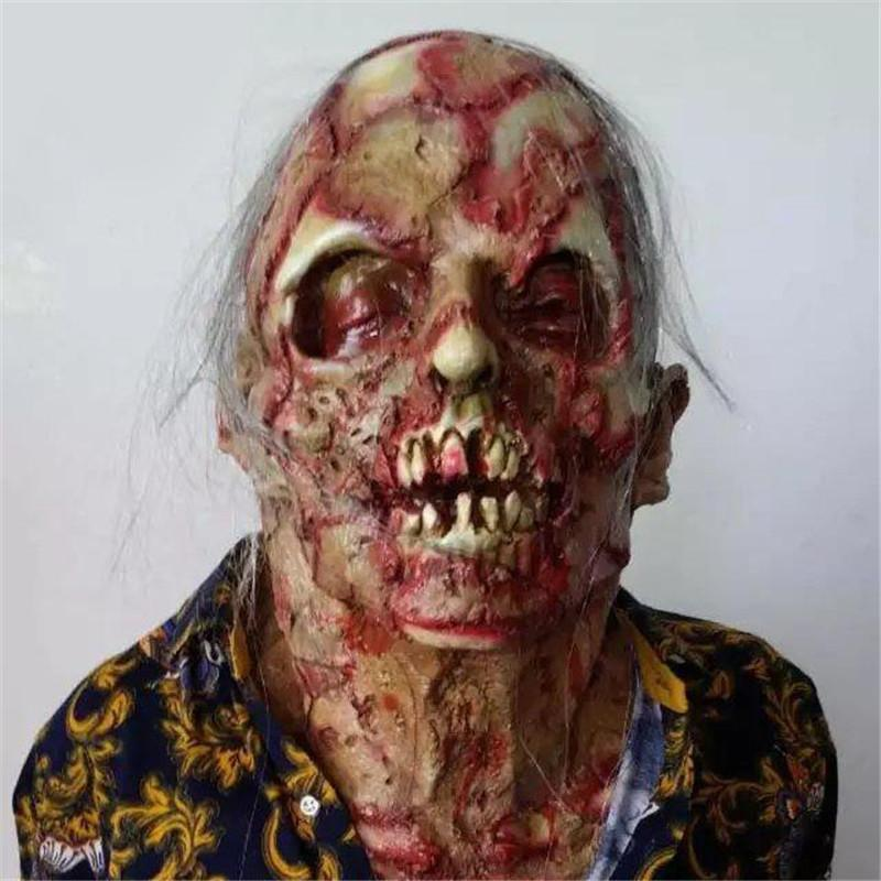 Halloween Zombie Terror Mask Cosplay Props effrayant adulte Masque Latex sanglant Effrayant extrêmement Disgusting Costume facial
