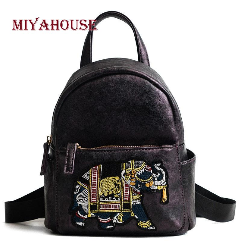 wholesale Colorful Elephant Design Backpacks Female PU Leather Travel Small Rucksacks Korean Style Student Shoulder School Bags