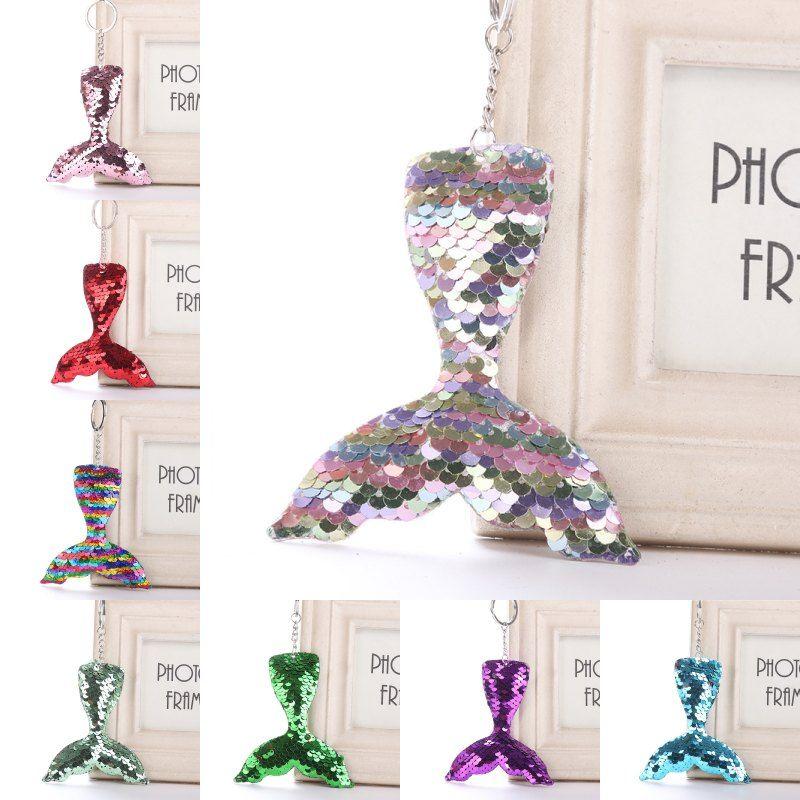 Mermaid Tail Women Girl Shine Keychain Jewelry Key Rings Sequins Key Holder Handbag Pendant Gift Bag Accessories Free DHL H585Q
