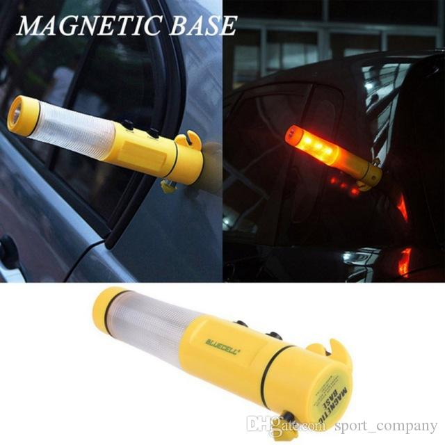 4-in-1 LED Flashlight Auto Car Emergency Safety Escape Tools Torch Light Hammer Seat belt Cutter Flashing Red Beacon Rescue Tool Free HDL