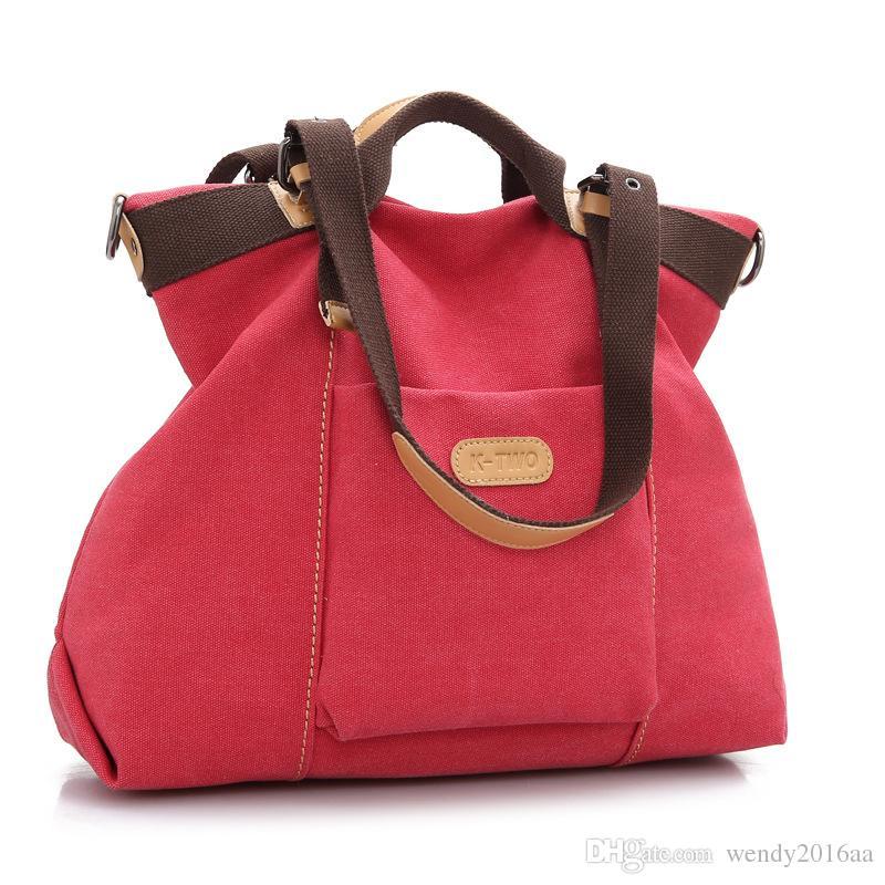 Fashion Women Canvas Large Capacity Bucket Plain Zipper Shoulder Bags 6 Colors Pocket Cross body Tote Handbag Purse Messenger