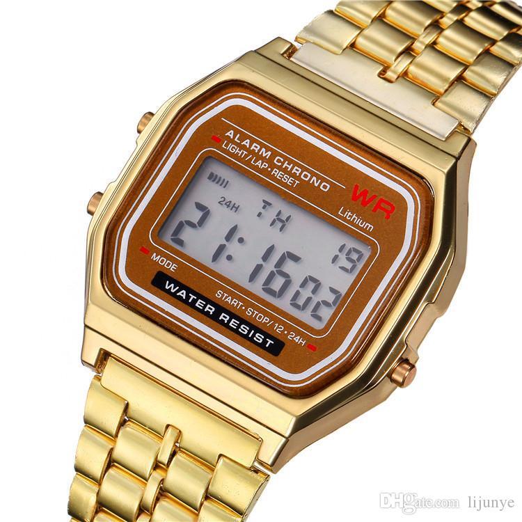 2018 orologio da uomo d'oro di lusso successo orologio da lavoro multifunzione LED orologi sportivi digitali uomini erkek reloj reloj