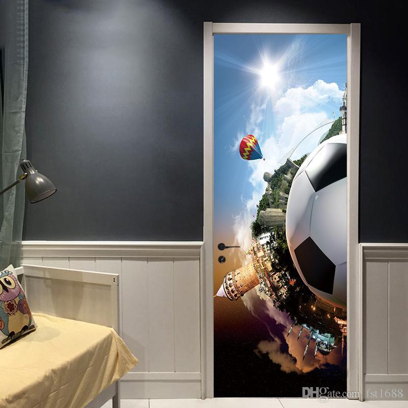 Creative Cartoon Sports Soccer Ball Football Kids Boys Bedroom Door Sticker Mural Wallpaper Art DIY Vinyl Decal Living Room Home Decoration