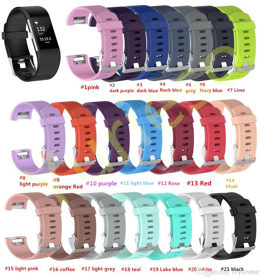 Самая низкая цена 21 цвет Силиконовый ремешок для fitbit charge2 band Фитнес Умный браслет часы Замена Спортивных Ремешков Полосы для Fitbit Charge 2