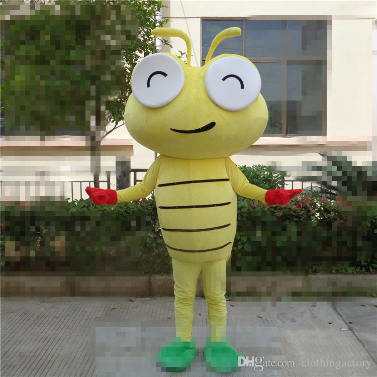 Tamanho adulto Dos Desenhos Animados Inseto Mascot Costume Halloween Natal Amarelo lagarta Carnaval Vestido Adereços Corpo Inteiro Outfit Mascote