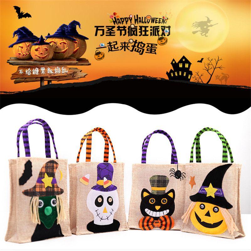 Hot Sale Halloween Kids Candy Bags Large Canvas Children Hand Bags Trick or Treat Pumpkin Devil Spider Halloween Gift Sugar Bags