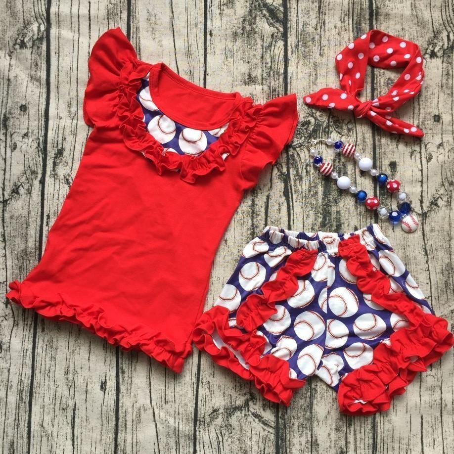 Sommer Design Kinder Baseball Saison Kleidung Mädchen BALLGAME Kleidung Rüschen Baumwolle Shorts Mädchen Boutique Outfits mit Zubehör Y1892707