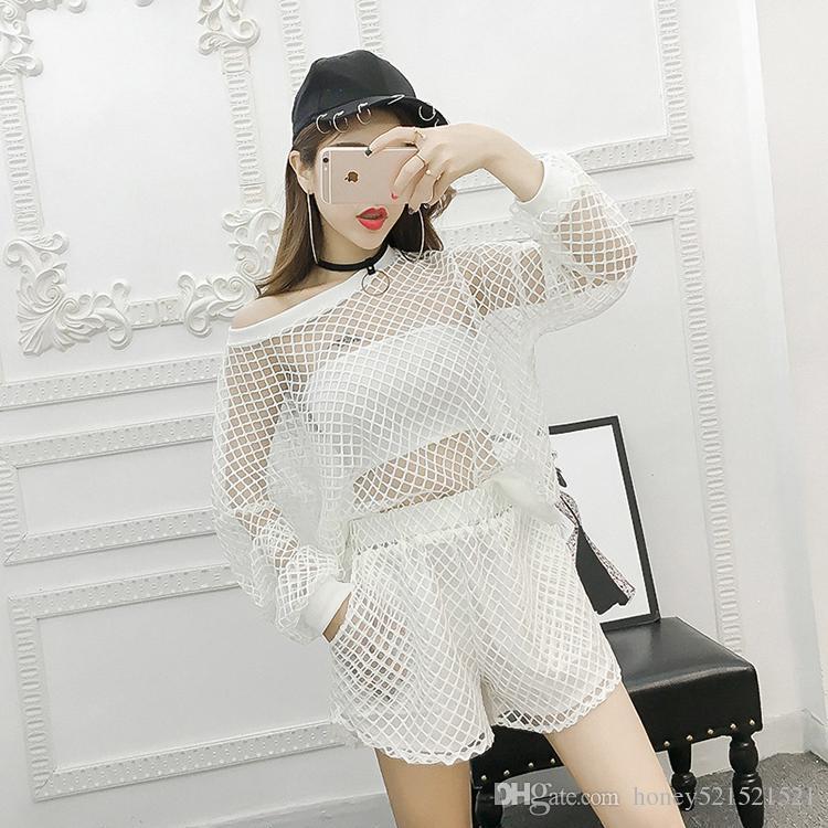 Nouveau design de mode femmes été printemps o-cou manches longues évider t-shirt et short twinset sport gym survêtement
