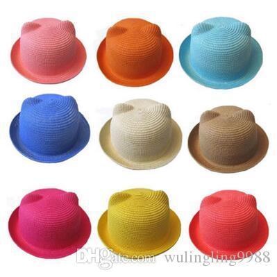 Baby Straw Hat Summer Kids Cat Ear Hats Lovely Beach Cap Children Character Girls Boys Solid Sun Hat Women Men Stingy Brim Hats 50 pcs