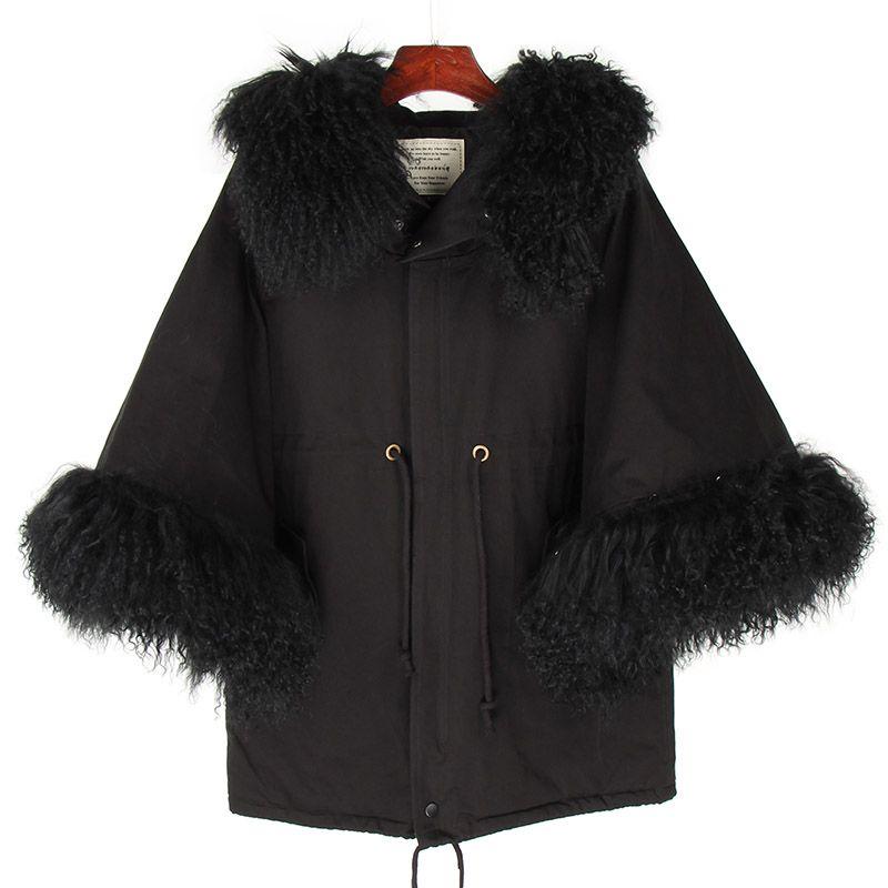 @cheapsneakers женская накидка со съемным меховым воротником ягненка / манжета повседневная труба рукава талия плащ меха пальто хлопок куртка