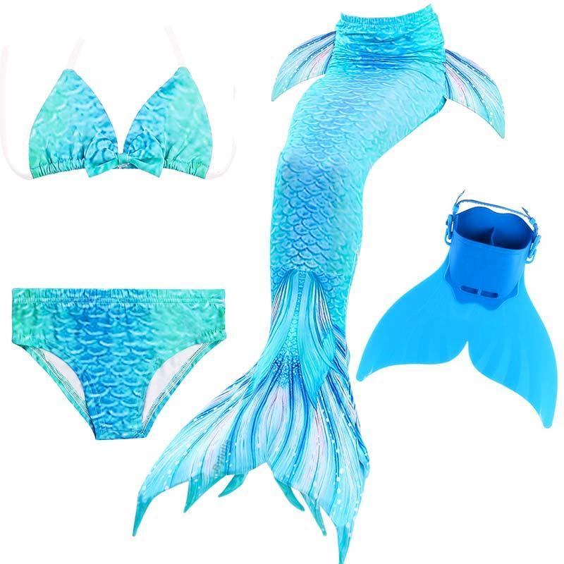 Women Kids Girls Mermaid Tail Swimmable Swimear Swimming Mono Fin Flippers Party