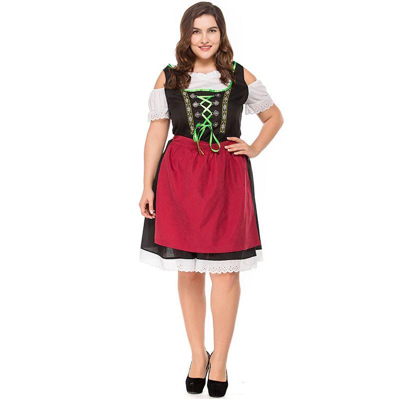 New Ladies Wench Waitress Maid Cosplay Costume German Oktoberfest Beer Girl Bavarian Bar Maid Dress Halloween Fancy Dress