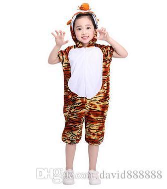 2018 Novo estilo crianças Cosplay Tigre Rã Rã Animal executar roupas Meninos e meninas de Dança roupas Conjoined