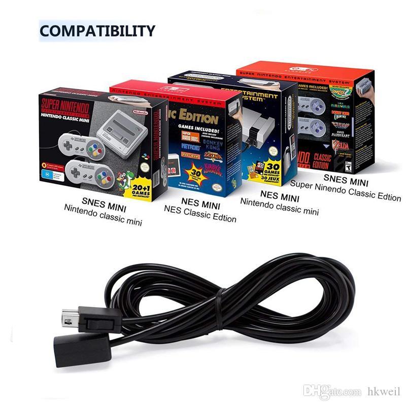 Denetleyici Uzatma Kablosu Kablosu 10ft 3 M Süper Nintendo SNES Klasik Baskı NES Mini Kontrolörler için Uyumlu