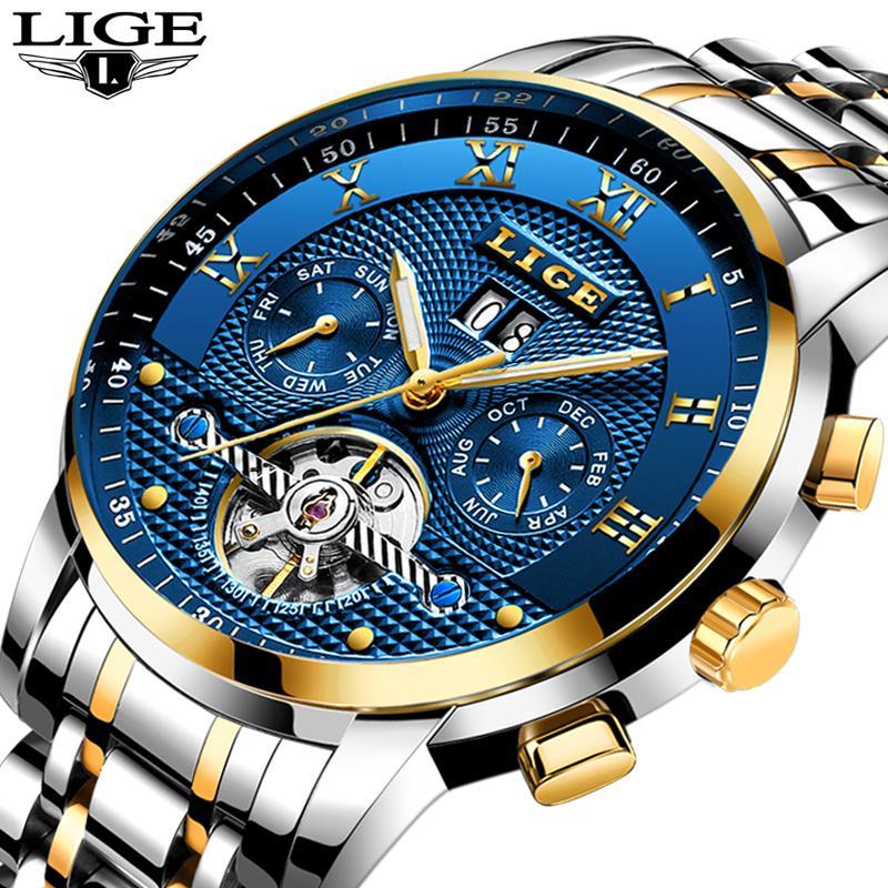 LIGE мужские часы лучший бренд роскошные автоматические часы мужские полный стали наручные часы человек мода повседневная водонепроницаемый часы reloj hombre D18100706