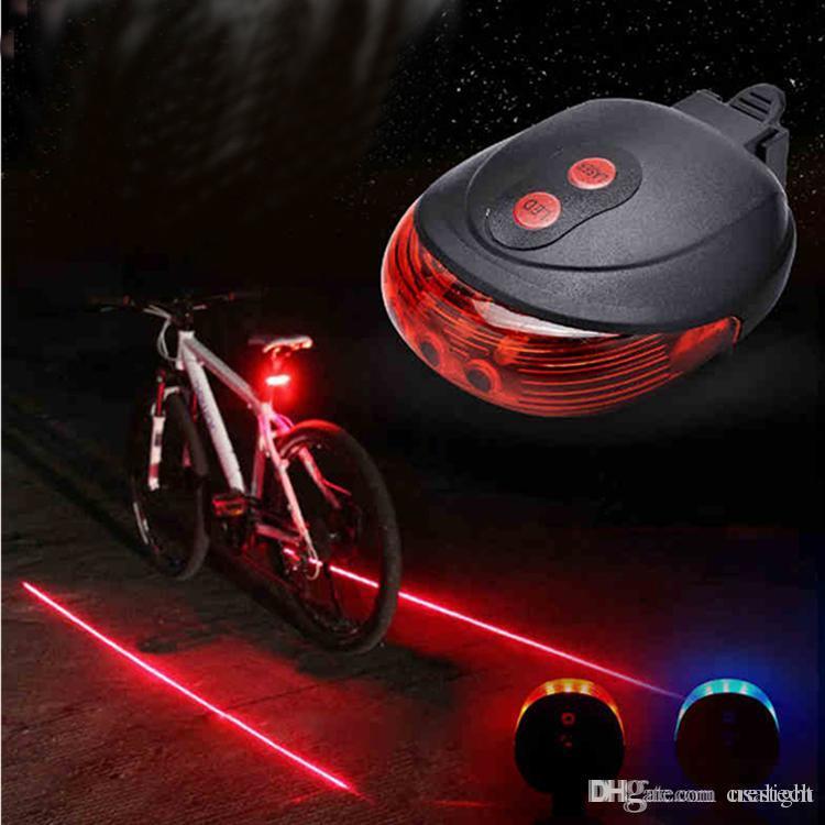 5 LED 2 Laser Bicycle Light Bike Rear Tail Lamp Night Cycle Ride Safety Warning
