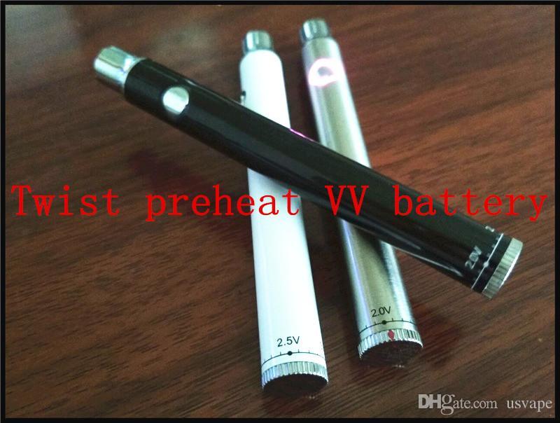 510 fio de pré-aqueça bateria recarregável bud caneta aberta vape bateria torção fundo VV fumando óleo de mel vaporizador para vaporizador de óleo de vidro grosso