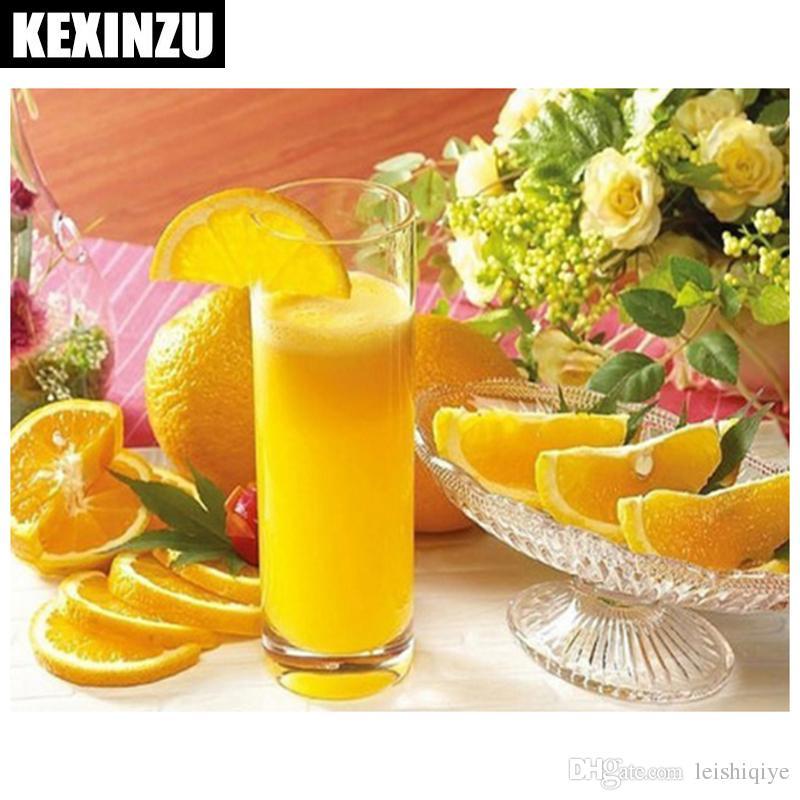 5d diy broca praça cheia de diamantes pintura ponto cruz fruta suco de laranja strass bordado mosaico home decor presente