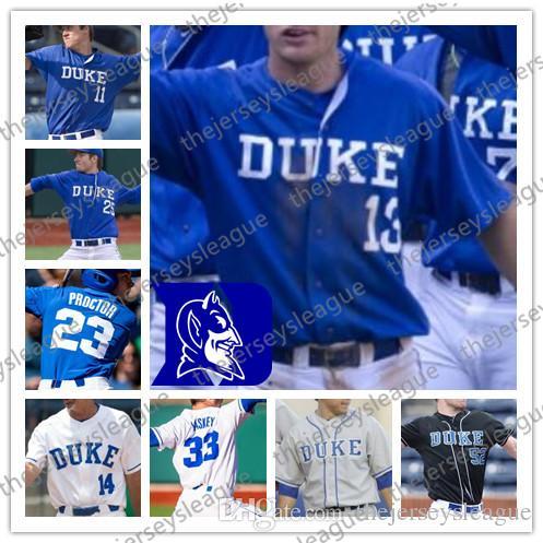 듀크 블루 데블즈 # 9 그리핀 코인 13 라이언 데이 30 지미 헤론 36 조이 로퍼 피도 화이트 블루 그레이 블랙 NCAA College Baseball Jerseys