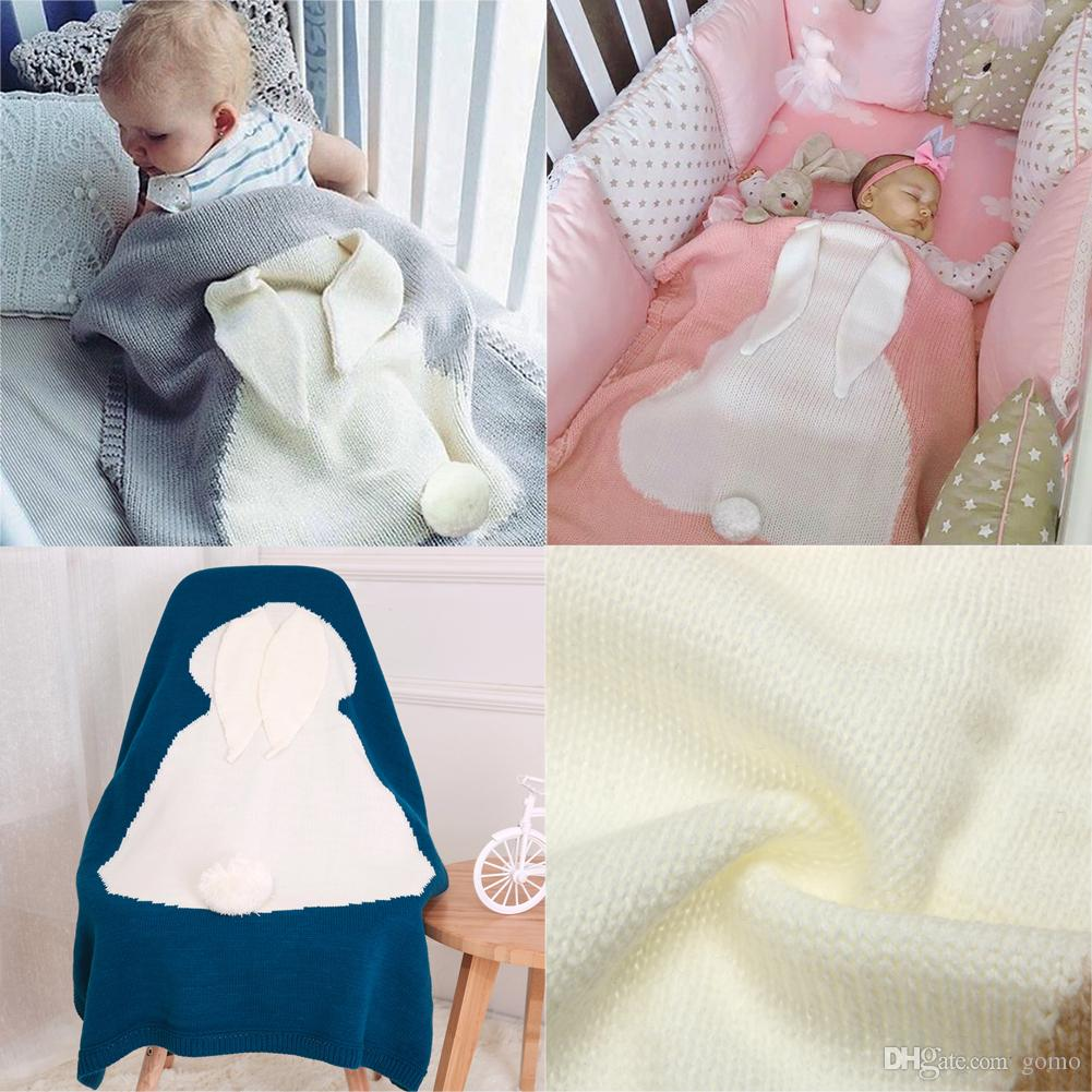 Cartoon Rabbit Baby Blanket Newborn Swaddle Wool Crochet Knitted Children's Blanket Soft Swaddling Stroller Cover Bath Towel
