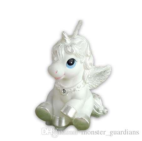 Çocuk parti malzemeleri doğum günü mum bestie at beyaz at küçük Pegasus Fantezi Zodyak göndermek için mum